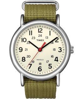 Weekender 38mm Nylon Strap Watch Silver-Tone/Green/Cream large