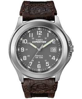 Expedition Metal Field 39mm Leather Watch Silver-Tone/Black/Gray large
