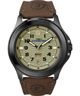 Expedition Metal Field 40mm Leather Watch Gray/Brown/Green large