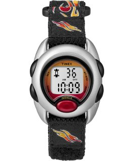 Kids Digital Watch with Nylon Strap Silver-Tone/Black large
