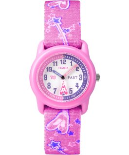 Girls Kids Analog 29mm Elastic Fabric Watch Pink/White large
