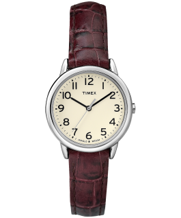 Easy Reader 25mm Leather Strap Watch Silver-Tone/Brown/White large