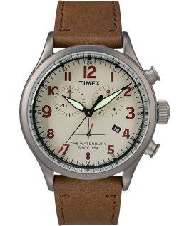 Waterbury Traditional Chronograph Numbered Dial 42mm Leather Watch Gunmetal/Brown/Cream large