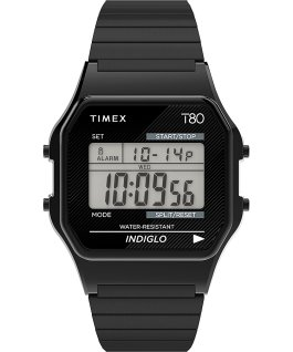 Timex T80 34mm Stainless Steel Expansion Band Watch Black large