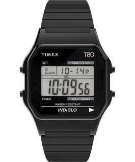 Montre Timex T80 34mm Bracelet extensible en acier inoxydable Noir large