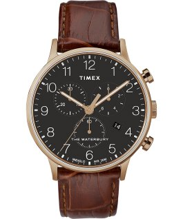Montre--chronomètre-Waterbury-Classic-40 mm-Bracelet-en-cuir Rose doré/Marron/Noir large