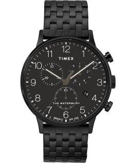 Waterbury 40mm Classic Chrono Stainless Steel Watch Black large