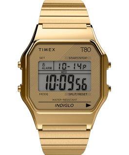 Montre Timex T80 34mm Bracelet extensible en acier inoxydable Doré large
