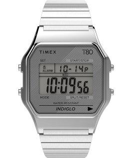 Montre Timex T80 34mm Bracelet extensible en acier inoxydable Argenté large