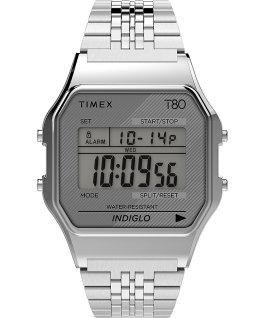 Montre Timex T80 34mm Bracelet en acier inoxydable Argenté large
