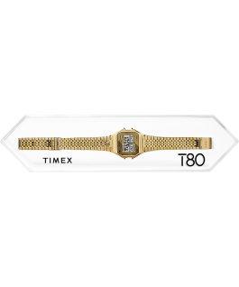 Zegarek Timex T80 34 mm ze stalową bransoletą Srebrny large