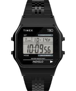 Zegarek Timex T80 34 mm ze stalową bransoletą Czarny large