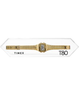 Zegarek Timex T80 34 mm z elastyczną bransoletą ze stali  Różowe złoto large