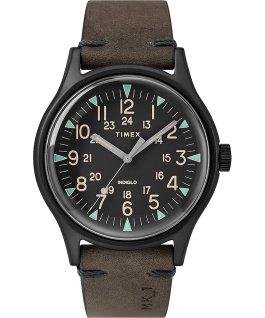 MK1 Steel 40mm Leather Strap Watch Black/Brown large