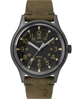 MK1 Steel 40mm Leather Strap Watch Gray/Green/Black large