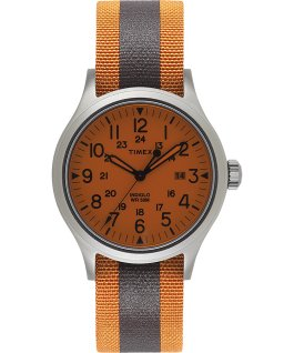 Allied 40mm Reflective and Reversible Fabric Strap Watch Silver-Tone/White large