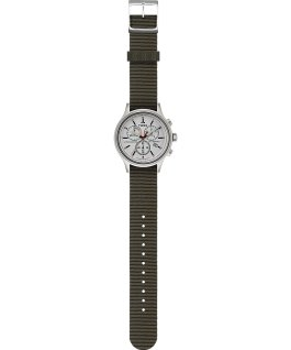 Allied Chronograph 42mm Reflective and Reversible Fabric Strap Watch Silver-Tone large