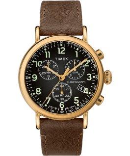 Reloj cronógrafo Standard de 41mm con correa de cuero Dorado/Marrón/Gris large