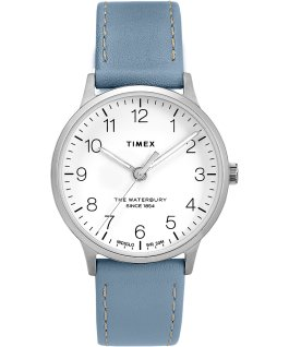 Waterbury 36mm Classic Leather Strap Watch Stainless-Steel/Blue/White large