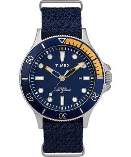 Reloj Allied Coastline de 43mm con bisel giratorio y correa de tela Plateado/Azul large