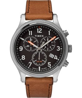 Allied LT Chronograph 42mm Leather Strap Watch Silver-Tone/Brown/Black large