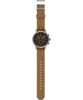 Allied 40mm Reflective and Reversible Striped Fabric Strap Watch Silver-Tone/Black large
