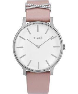 Montre Transcend 38mm avec bracelet accessoire en cuir Argenté/Rose/Blanc large