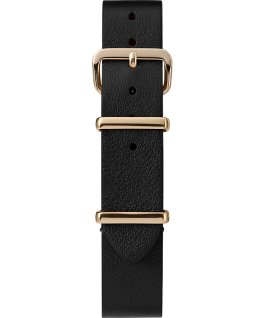 16mm Leather Single Layer Slip Thru Strap with Gold Tone Black large