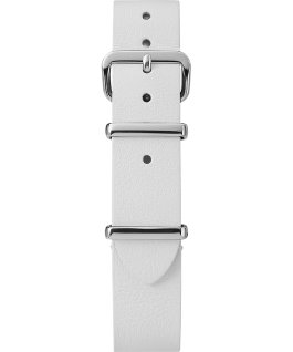 16mm Leather Single Layer Slip Thru Strap with Silver White large