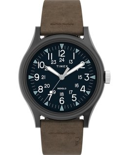 Zegarek MK1 ze stalową kopertą 40 mm i skórzanym paskiem Stalowoszary/Brązowy large