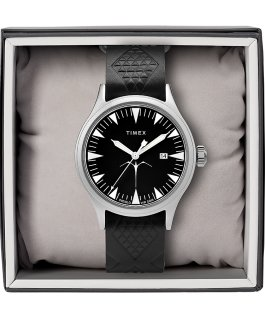 Timex x Keone Nunes 40mm Leather Strap Watch Silver-Tone/Black large