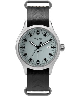 Timex x Keone Nunes 40mm Leather Strap Watch Silver-Tone/Black/Grey large