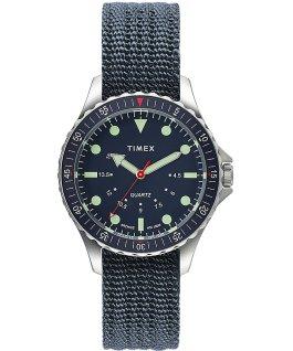 Reloj Navi Depth de 38mm con correa de tela Acero inoxidable/Azul large
