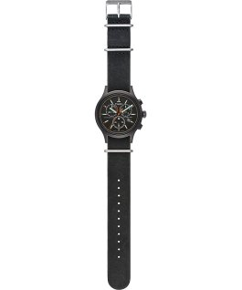 Archive Allied Chronograph 42mm Leather Strap Watch Black/Black large