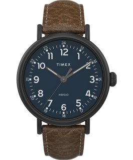 Timex Standard XL 43mm Leather Strap Watch Black/Brown/Blue large