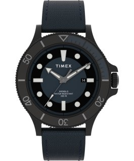 Allied Coastline 43mm Fabric Strap Watch Black/Blue large