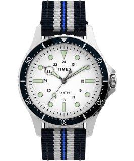 Navi XL 41mm Fabric Slip Thru Strap Watch Stainless-Steel/Blue/White large