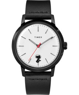 Montre Timex x Snoopy Space Traveler automatique Marlin 40 mm Bracelet en cuir Acier inoxydable/Noir/Blanc large