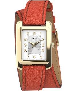Addison Double Wrap 25mm Leather Strap Watch Gold/Orange large