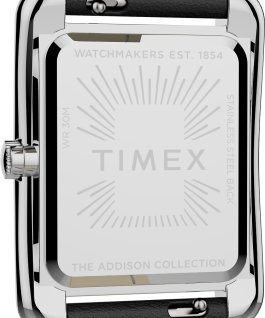 Addison 25mm Leather Strap Watch Silver-Tone/Black large