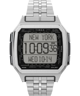 Zegarek Command Urban Metal 47 mm ze stalową bransoletą Srebrny large