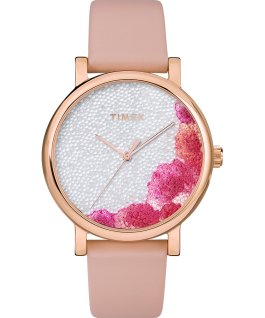 Montre Full Bloom 38 mm avec cristaux Swarovski Bracelet en cuir Or rose/Rose/Blanc large