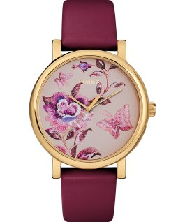 Montre Full Bloom 38 mm Bracelet en cuir Doré/Bordeaux/Rose large