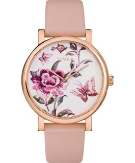 Montre Full Bloom 38 mm Bracelet en cuir Rose doré/Rose large