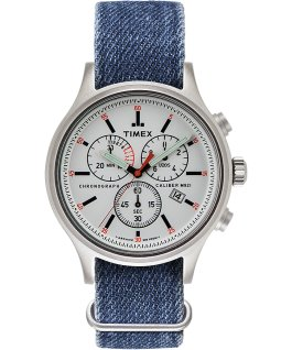 Allied Chronograph 42mm Stonewashed Fabric Strap Watch Silver-Tone/Black/White large