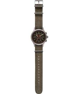 Allied Chronograph 42mm Stonewashed Fabric Strap Watch Silver-Tone/Black/Grey large