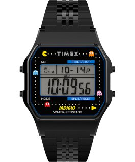 Timex x Pac Man 34mm Stainless Steel Bracelet Watch Black large