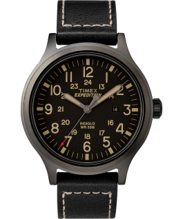 Expedition Scout 43mm Leather Strap Watch Black large