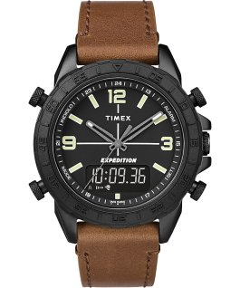 Zegarek Expedition Pioneer Combo z kopertą 41 mm, skórzanym paskiem i szybkozłączką Czarny/Brązowy large