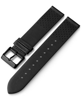 20mm Quick Release Leather Strap with Perforations Black large